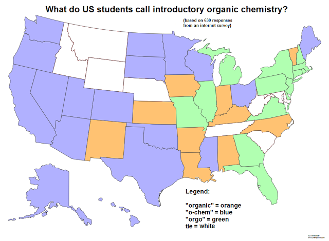 50 states of organic chemistry map color coded