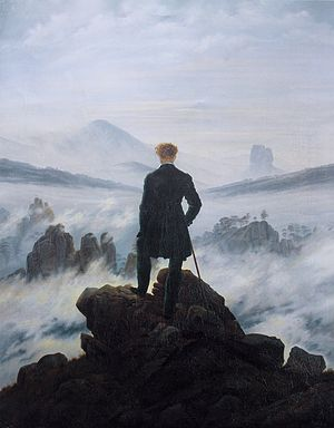 The Wanderer Above the Sea of Fog by Caspar David Friedrich. Foreground is heavy, background is light.